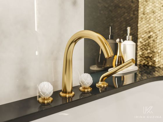 JÖRGER Belledor Tub/shower mixer set in gold (24 carat) by Jörger with porcelain handles by Porzellanmanufaktur FÜRSTENBERG.