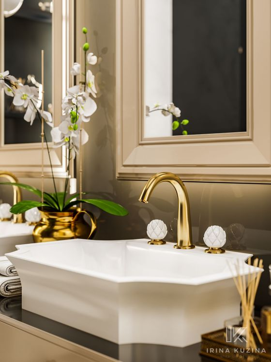 JÖRGER Belledor Washbasin 3-hole mixer in gold (24 carat) by Jörger with porcelain handles by Porzellanmanufaktur FÜRSTENBERG.