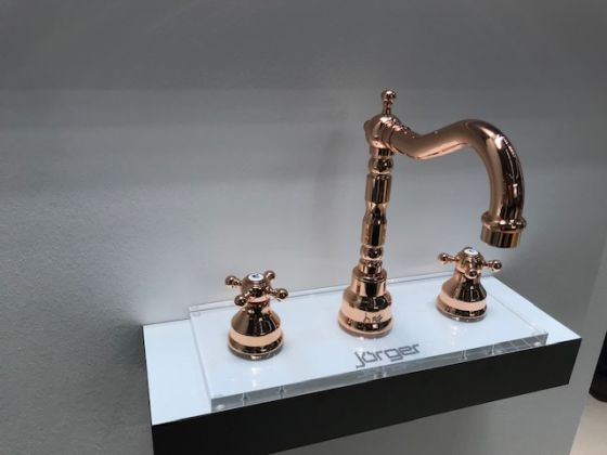 JÖRGER Delphi-washbasin 3-hole mixer in rosé gold (18 carat gold)