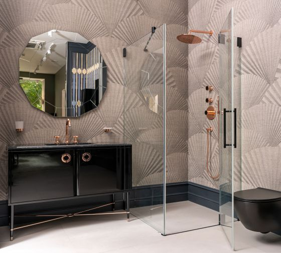 Bathroom furnishing with Valencia in rose-gold with black crystal by Jörger in an exhibition in Moscow