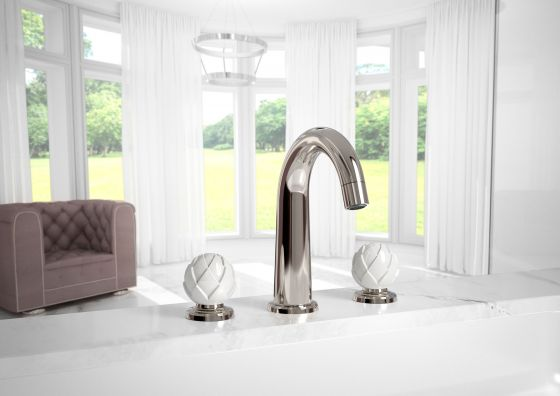 JOeRGER Belledor 3 hole tap washbasin in platinum II