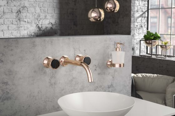 JÖRGER Valencia-Wall-washbasin 3-hole mixer in rosé gold (18-carat gold)