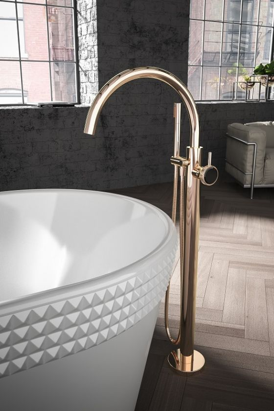 JÖRGER_ Valencia-Tub/shower mixer set for free standing assembly in rosé gold (18 carat gold)
