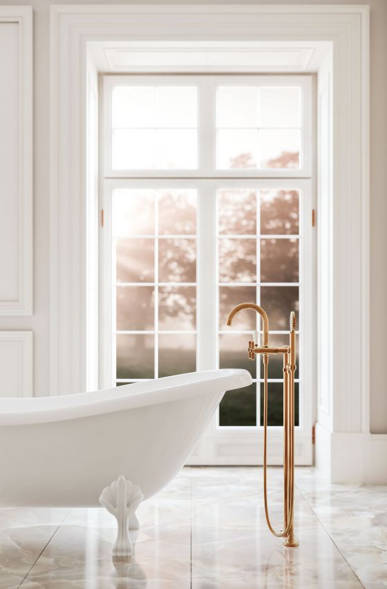 Tub/shower mixer free-standing | Series CRONOS  rosé-gold