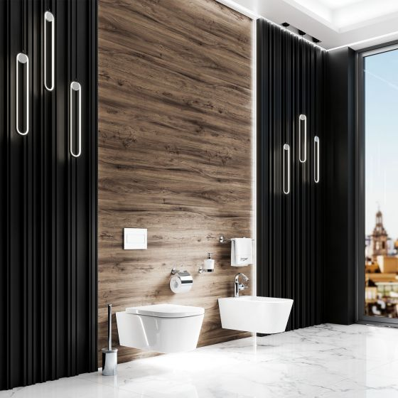 Valencia in the exclusive finish chrome with bidet fitting and accessories in the area of WC and bidet of a modern bathroom interior.