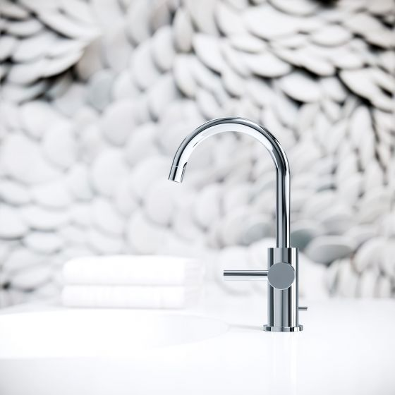"Jörger, Design, Bauhaus style, design style, modern and minimalistic Washbasin tap in chrome from the ""Charleston Royal"" series in profile, against an attractive texture background"