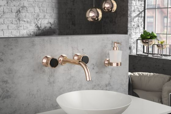 JOeRGER Valencia 3 hole wall washbasin in Rose Gold